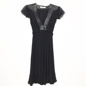 Susana Monaco Leather & Silk Tie Back Dress